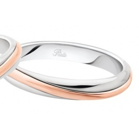 Polello Alba d'Amore wedding ring in rose gold and white gold