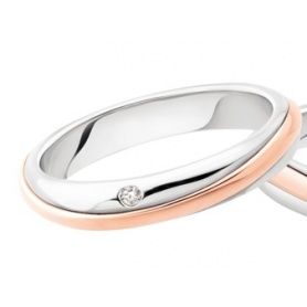 Polello Alba d'Amore wedding ring in rose gold, white and diamonds
