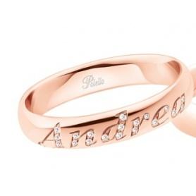 Fede Polello Lettera D'amore in oro rosa e diamanti