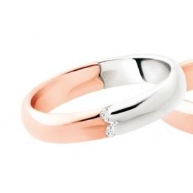 Fede Polello Segno d'amore in oro rosa, bianco e diamanti