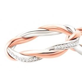 Fede Polello Trama D'amore in oro rosa,bianco e diamanti