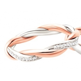 Polello Di Amore love ring in rose gold, white and diamonds