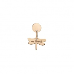 Queriot Ma Liberté earring in pink gold with dragonfly