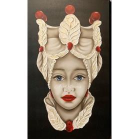 Quadro Donna Testa di Moro di Art Maiora rosso