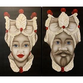 Quadri Testa di Moro di Art Maiora, coppia uomo donna rosso