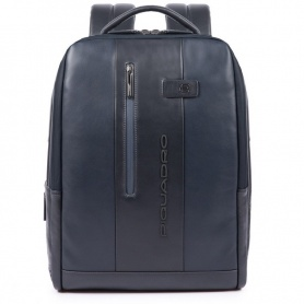 Piquadro Urban backpack pc case with blue anti-theft cable
