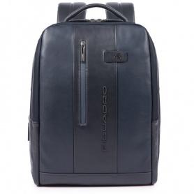 Piquadro Urban Rucksack-PC-Tasche mit blauem Diebstahlschutzkabel