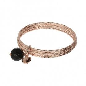 Steifes Bronzallure-Armband mit Onyx-Anhänger - WSBZ01386