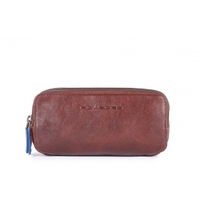 Piquadro Blue Square brown case with three hinges and handle