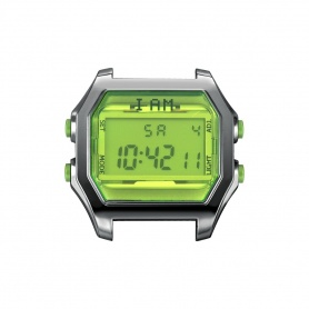 I AM green fluorescent and burnished IAM103 digital watch
