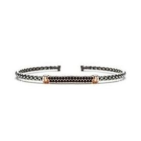Gerba-Armband aus starrem Silber mit schwarzen Steinen - 3050ROSE '