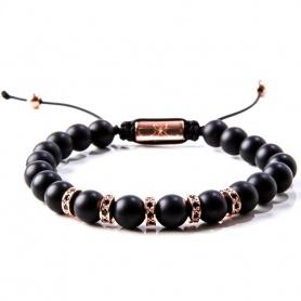 Gerba man woman black matte bracelet with cord - MATTE ROSE '