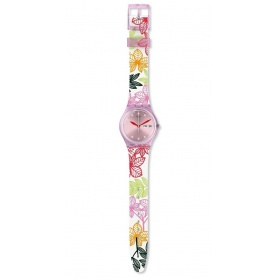 Damen-Swatch-Uhr Summer Leaves pink GP702