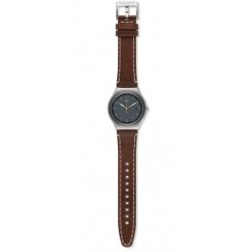 Swatch man Brandy watch in dark brown leather - YMS445