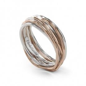 Ring Filodellavita sieben Silberdraht und Goldrose - AN7AR