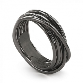 Ring Filodellavita Rock, seven strands of burnished silver - AN9N