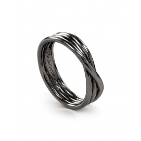 Ring Filodellavita Rock, three wires in burnished silver - AN8N