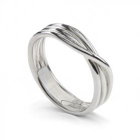 Anello Filodellavita Rock, tre fili in argento rodiato - AN8A