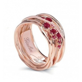Ring Filodellavita Ten, ten wires in 18kt rose gold and rubies - AN100RRB