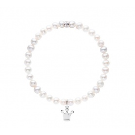 Elastic Mimì bracelet with white pearls and LARGE crown