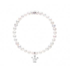 Elastisches Mimi-Armband mit weißen Perlen und großer Krone