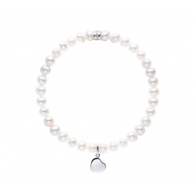 Elastic Mimì bracelet with white pearls and LARGE heart