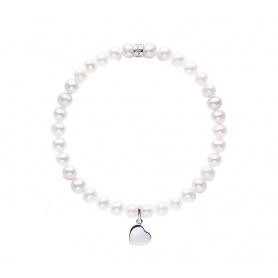 Elastisches Mimi-Armband mit weißen Perlen und GROSSEM Herzen