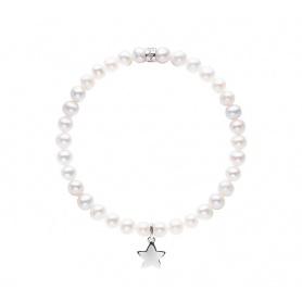 Bracciale Mimì elastica con perle bianche e stella LARGE