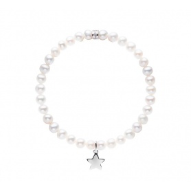 Elastic Mimì bracelet with white pearls and LARGE star