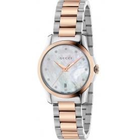 Gucci G Timeless zweifarbige Damenuhr und Diamanten YA126544