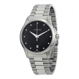 Orologio Gucci G-Timeless Medium nero e diamanti YA126457