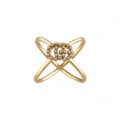 Yellow gold Gucci Running ring with diamonds - YBC582548001