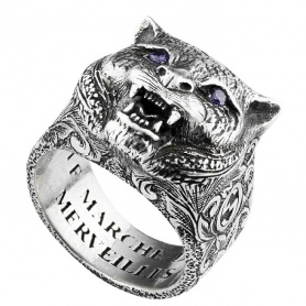 Gucci unisex feline ring with purple zircons - YBC524585001