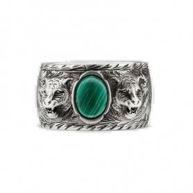 Unisex Gucci Ring mit grünem Stein und Katzenkopf - YBC461991001