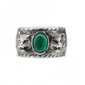 Unisex Gucci ring with green stone and feline head - YBC461991001