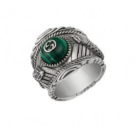 Unisex Gucci Ring mit grünem Stein und Schlangen - YBC499007001