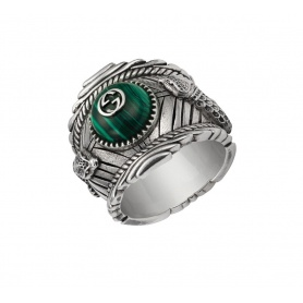 Unisex Gucci ring with green stone and snakes - YBC499007001