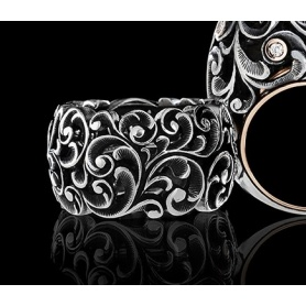 Band Maria and Luisa ring in silver gold and diamonds - AA0004 / BR