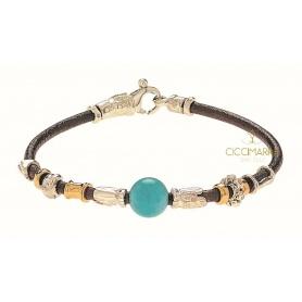 Misani Unisex Armband mit goldenem Lederfaden und Amazonit