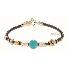 Misani Unisex bracelet with gold leather thread and Amazonite
