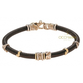 Misani jewelery, bracelet Grand Tour  in leather, gold and silver B2000