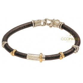 Misant bracelet, Grand Tour leather, gold and silver B2005