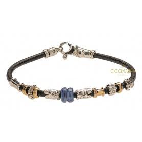 Bracciale Misani gioielli Accenti in cuoio con oro, argento e cianite