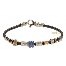 Misani bracelet Accenti leather jewels with gold, silver and kyanite
