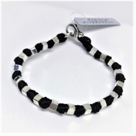 Spadarella Man rope bracelet with silver cubes - SPBR293