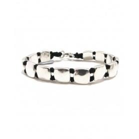 Spadarella Man bracelet with silver squares - SPBR369