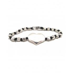 Spadarella Bracciale in argento nodi e pepite con cuore - SPBR376