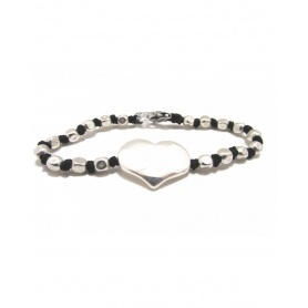 Spadarella Bracelet in silver knots and nuggets with heart - SPBR376