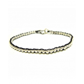 Spadarella Silver bracelet and black string with balls - SPBR169