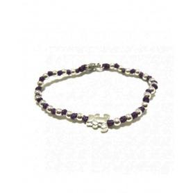 Spadarella Silber Baby Armband, schwarze Schnur und Bär SPBR167